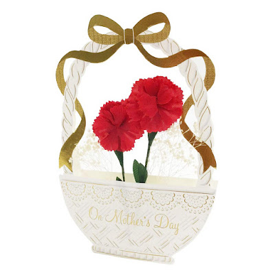 Carnations w/ Baby's Breath Basket Pop Up Mother's Day Card