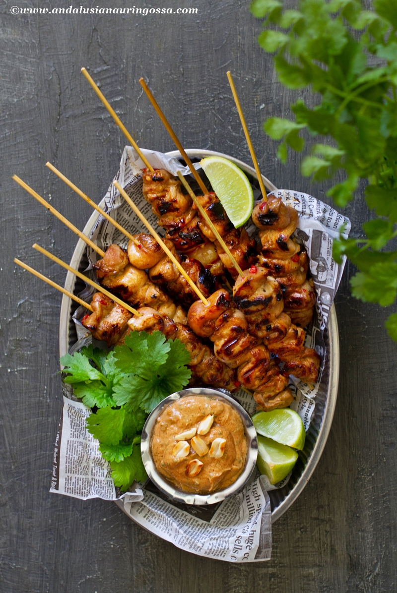 Asian marinated chicken skewers and satay sauce 1