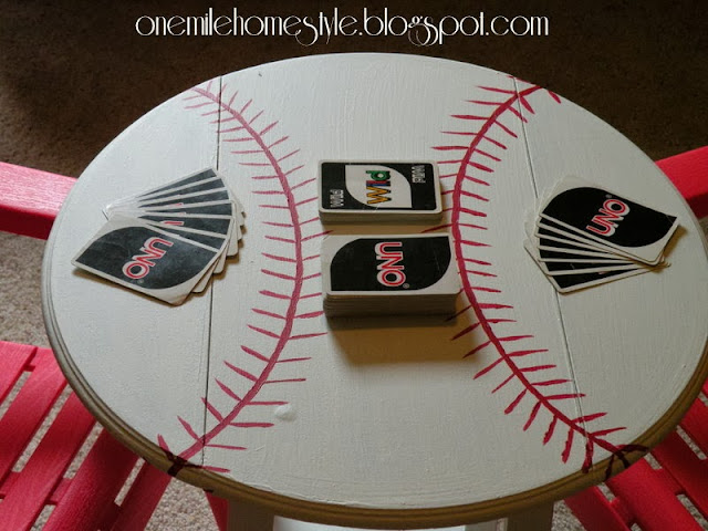 One Mile Home Style Baseball Accent Table