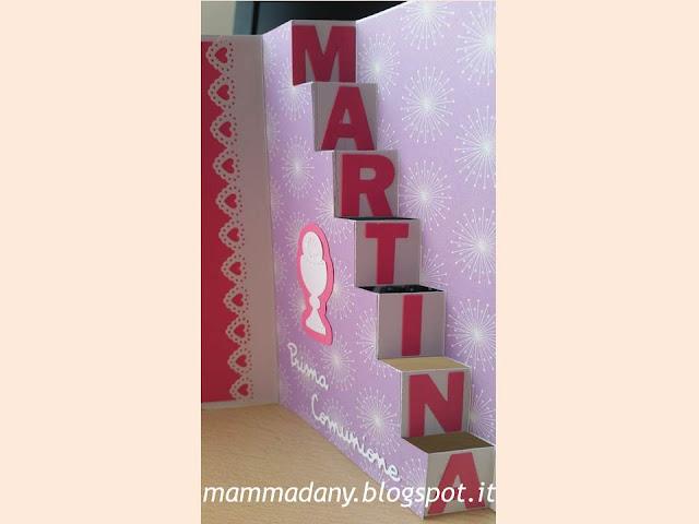 Scaletta con scritta card Prima Comunione femmina