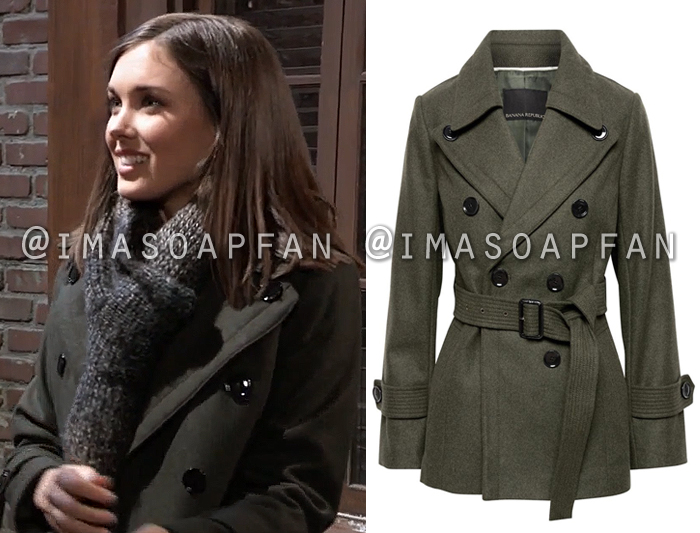 Willow Tait, Katelyn MacMullen, Dark Olive Green Trench Coat, General Hospital, GH