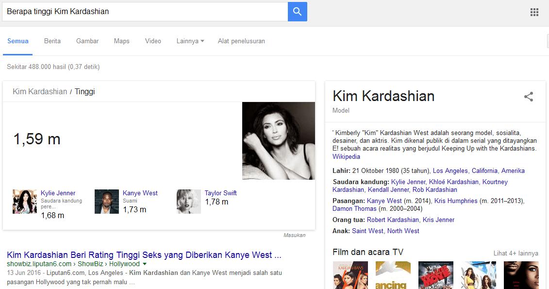 Pencarian Dengan Kata Kunci Berapa tinggi Kim Kardashian