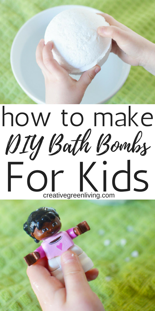 How to make DIY bath bombs for kids! Learn how to make simple 3 ingredient bath bombs for kids that have prizes inside! These simple bath bombs are easy to make at home. You can make them with your favorite essential oils if you'd like but you could leave them unscented, too. These are perfect to make with kids and for kids. #creativegreenliving #bathbombs#DIYbathbombs #diybath#howtomakebathbombs#bathbombrecipe #kids #kidscraft #kidsbathbombs #simplebathbombs #DIYbeauty