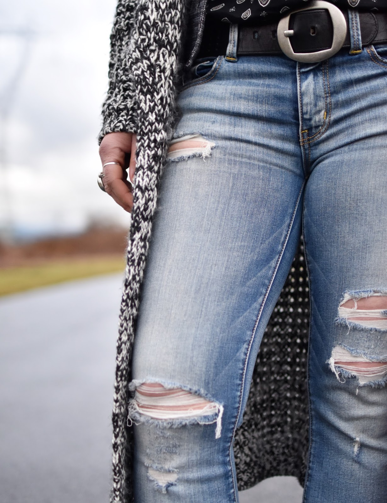 Monika Faulkner outfit inspiration - distressed flare jeans, long cardigan