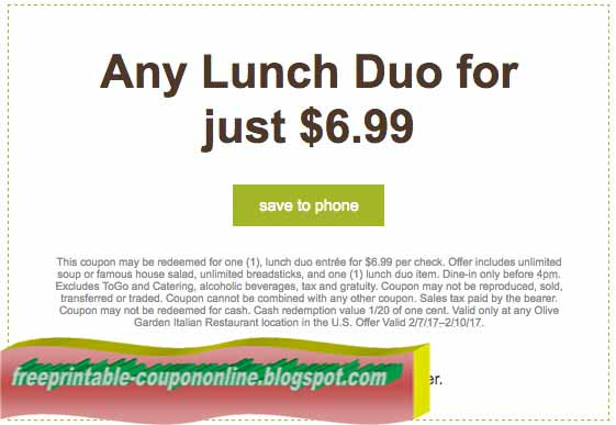 free printable olive garden coupons - Olive Garden Online Ordering