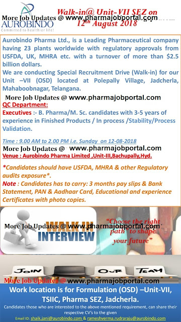 Aurobindo Pharma Ltd  Walk In Interview at 12 August