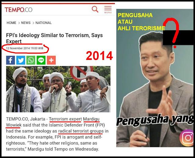 Jejak Mardigu Wowiek Sebut FPI Memiliki Ideologi Sama Dengan Kelompok Teroris