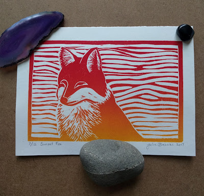 sunset fox linocut relief print art card