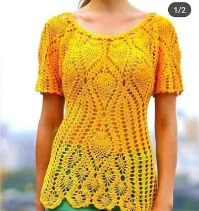Blusa Amarilla en crochet para fin de año!!!