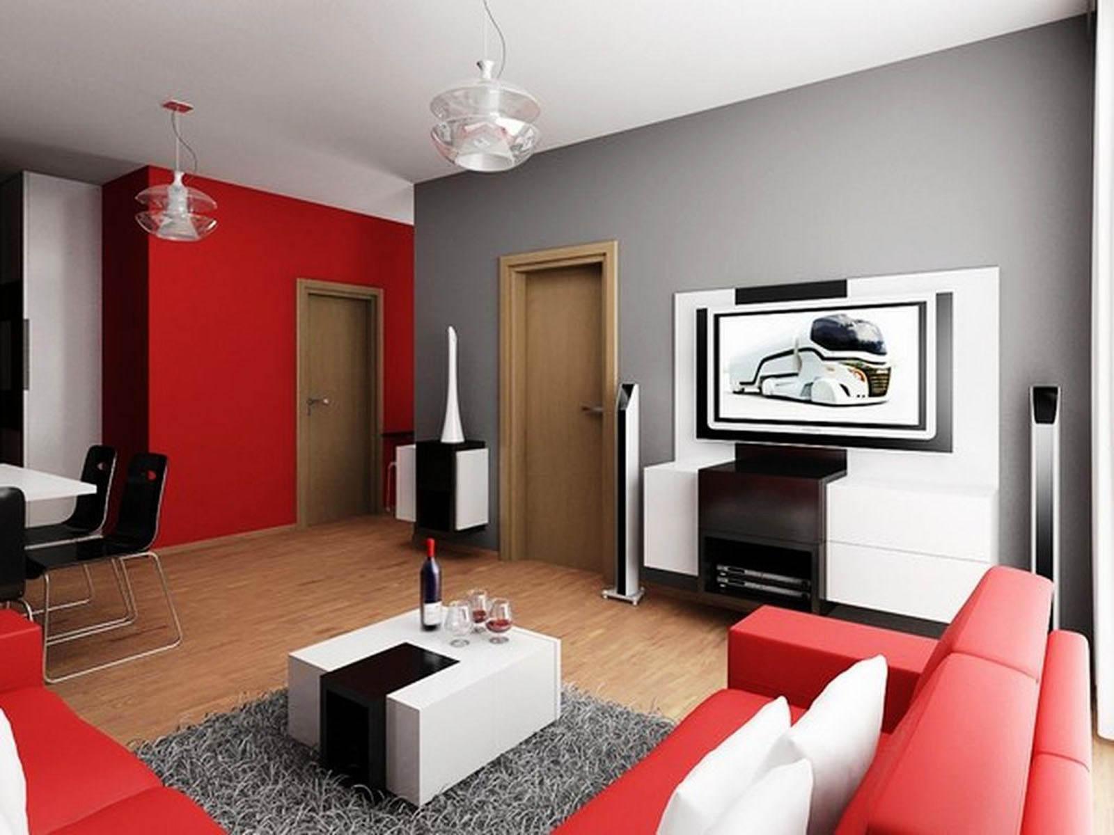 Cat Dinding Ruang Tamu Kombinasi Warna Merah dan Abu-abu