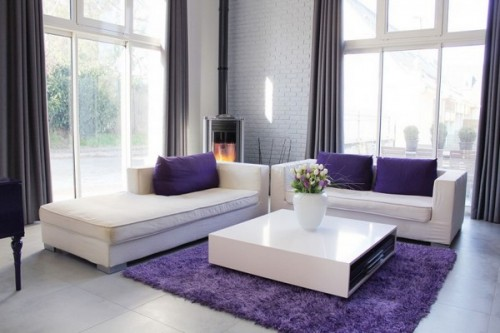 Image Detail For Pops Of Violet Black White And Silver Modern Living Room