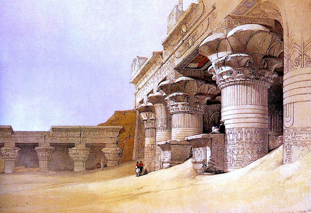 an old David Roberts illustration of ruins in Egypt, as they were then