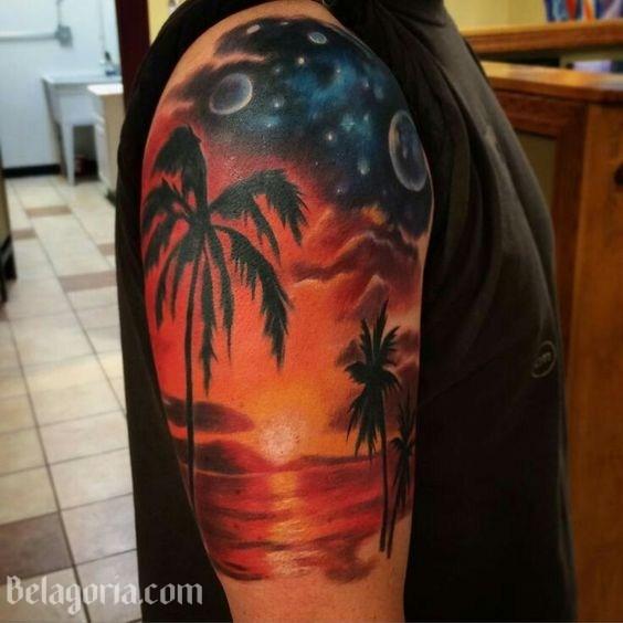 Un tatuaje de paisaje hawaiano