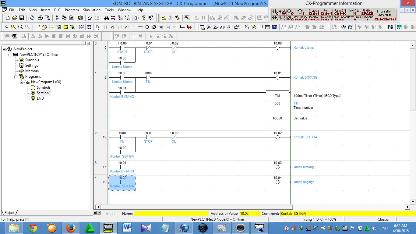 kontrol motor bintang segitiga otomatis dengan plc