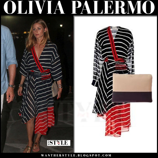 Olivia Palermo in striped red and dark navy asymmetric midi dress preen what she wore greece