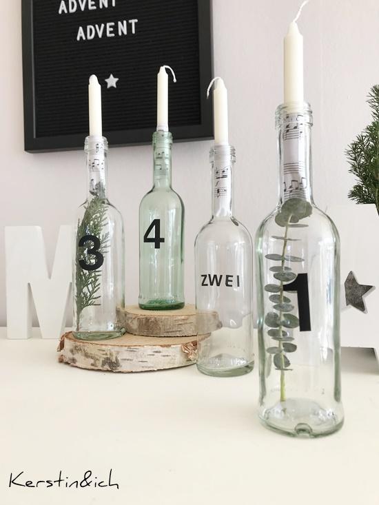 DIY Flaschenadventskranz Weihnachten Deko Adventskranz Advent Flaschen