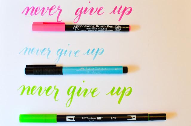 best brush markers and pens for brush lettering~anartfulmom.com