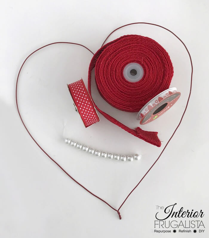 DIY Burlap Ribbon Valentine Wreath Craft Supplies