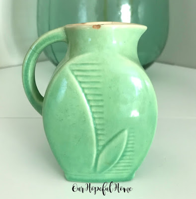 sea foam green Red Wing pottery creamer vase
