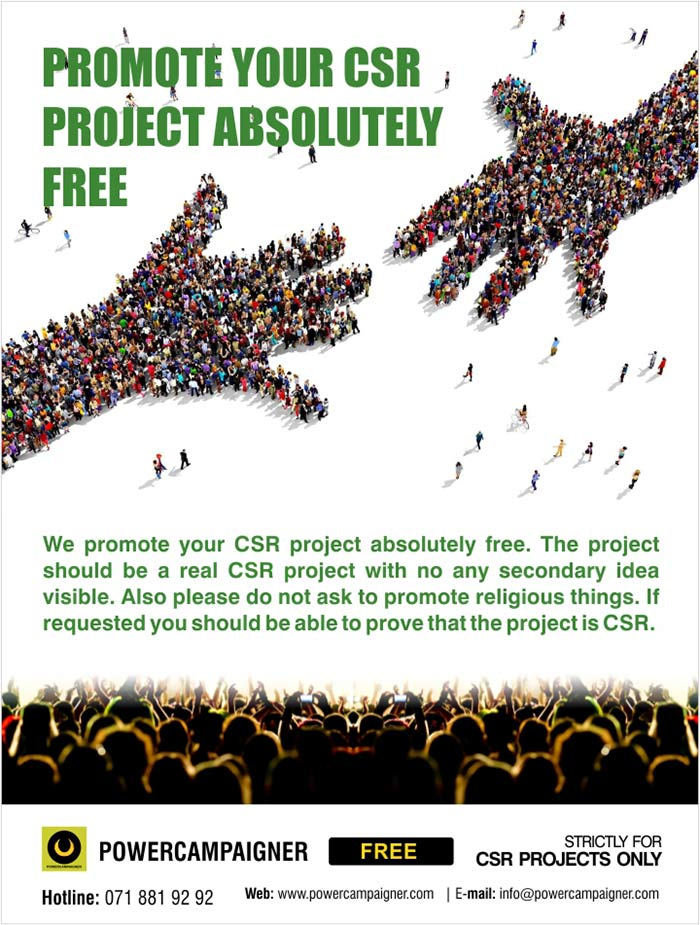 Promote your CSR project absolutely FREE.