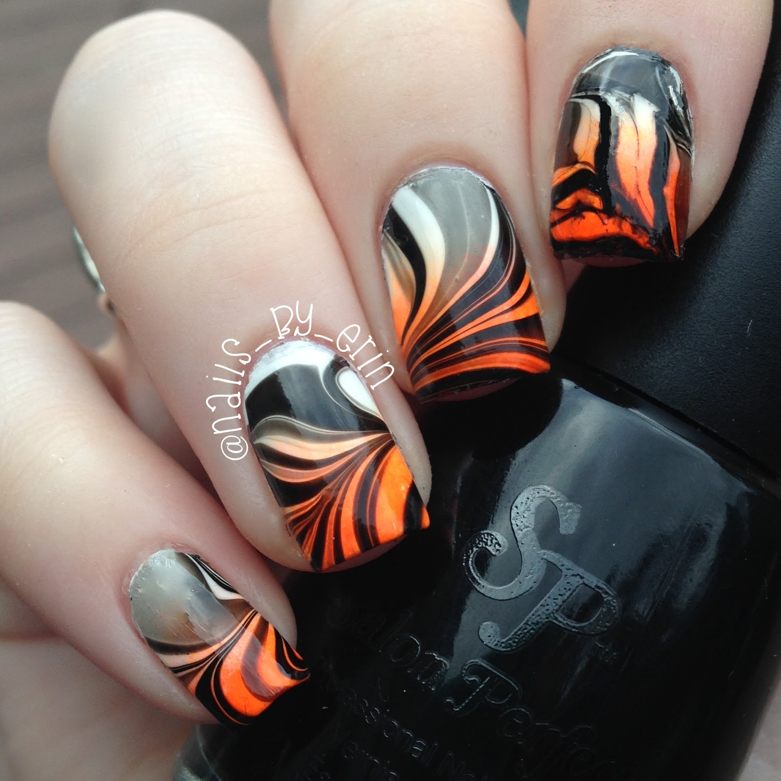 NailsByErin: Halloween Watermarble Nails