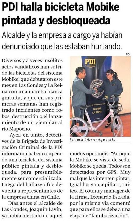 PDI halla bicicleta Mobike pintada y desbloqueada