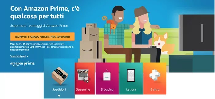 vantaggi di amazon prime e benefici