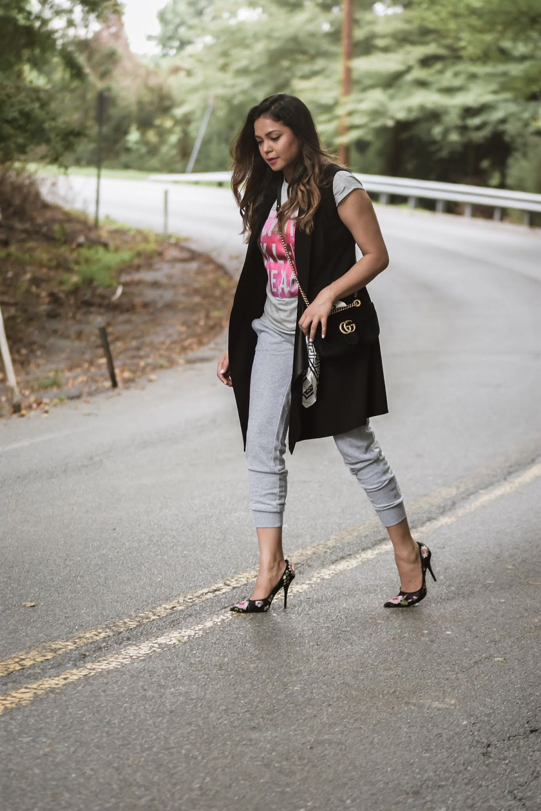 clarksburg premium outlets, athleisure outfit, heels, sweat pants, street style, embroidered high heels, vest style, layered fall look, style diaries, fashion, ootd, look of the day, myriad musings