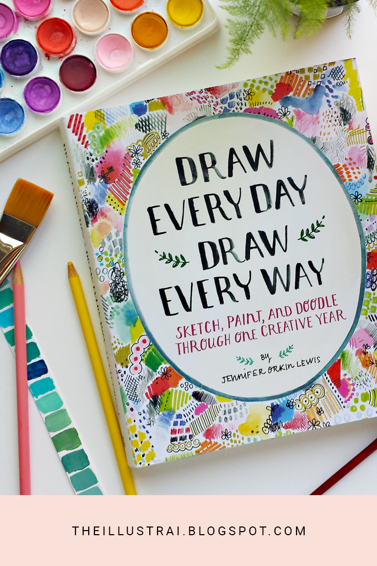 "Do you struggle with being creative everyday? Or do you not know what to draw? Jennifer Orkin Lewis' new book ""Draw Every Day Draw Every Way"" may be the answer to your creative block. This sketchbook full of art prompts will surely help you practice being creative everyday!"