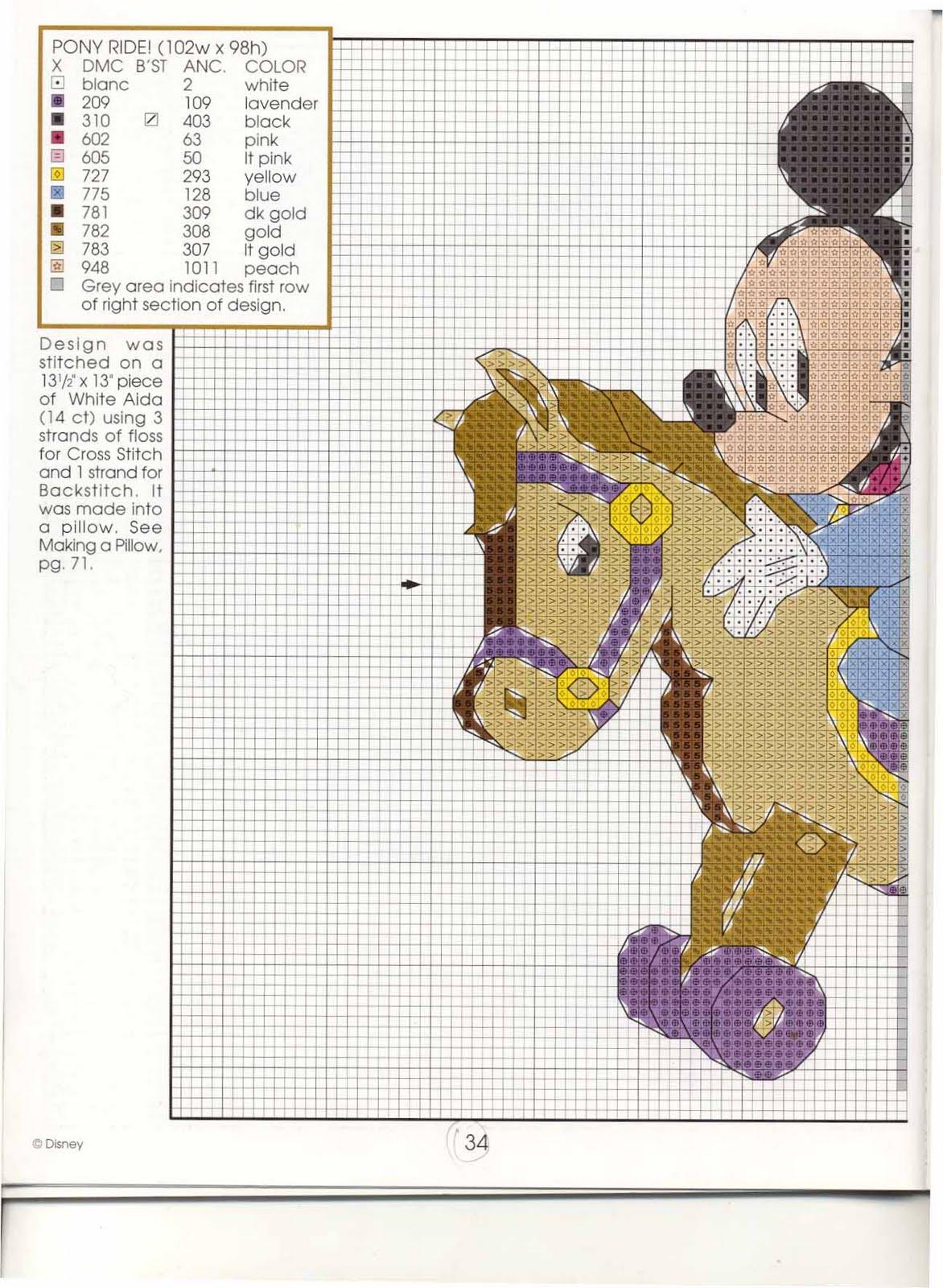 Cavalluccio A Dondolo A Punto Croce.Punto Croce Disney Babies 6 Topolino E Minny Sul Cavallo A Dondolo