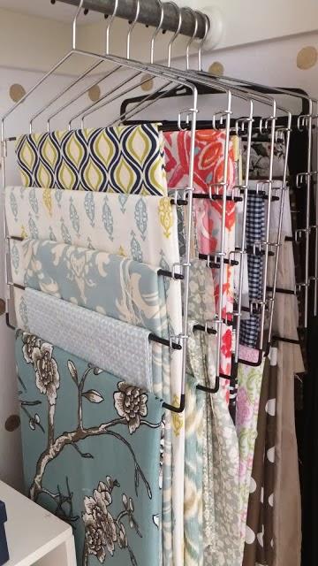 organize fabric using hangers