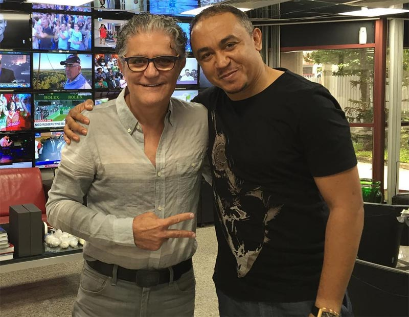 Freeze pictured with Cool FM owner Amin Moussalli after radio station re-employs him