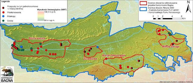 """Mapa rozmieszczenia obiektów budowanych w projekcie """"Kampinos Wetlands"""" na tle granic obszaru Natura 2000 Puszcza Kampinoska"""