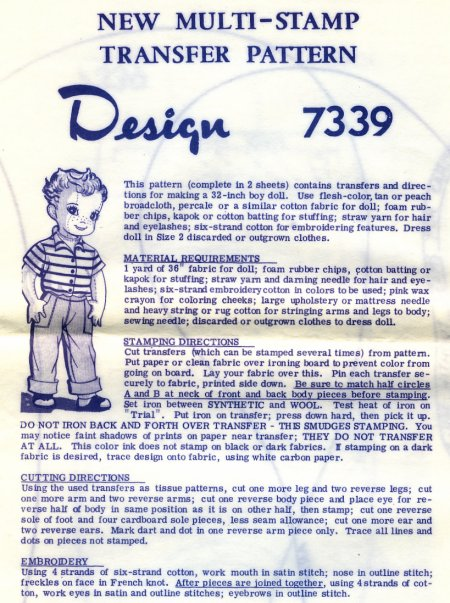 Vintage Cloth Doll Patterns Design 7339 32 Quot Baseball