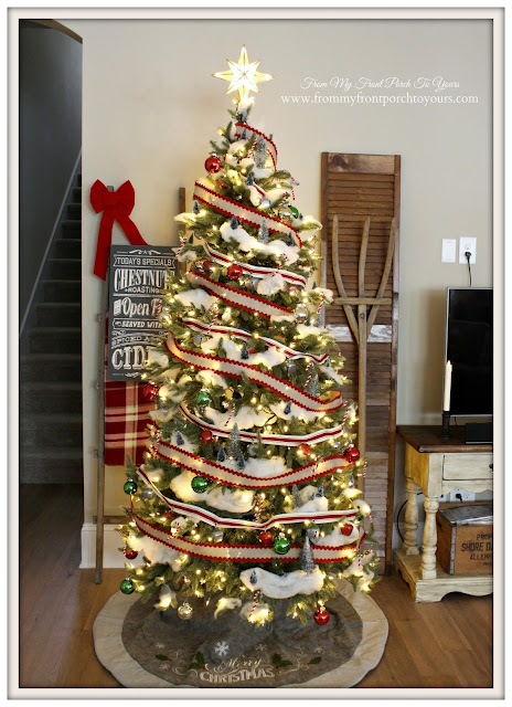 Farmhouse Christmas Tree- Candy Cane Forest-Batting For Snow-From My Front Porch To Yours