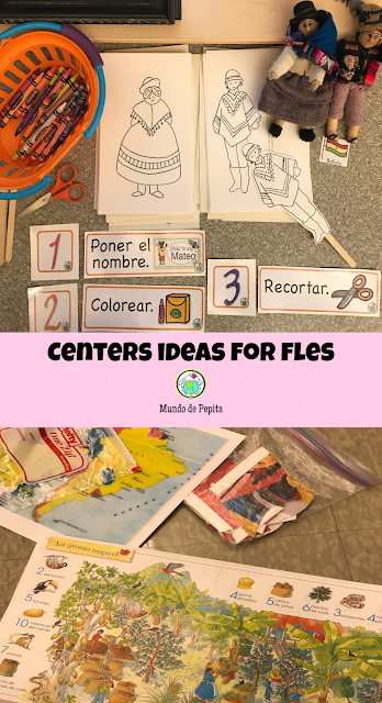 Centers Ideas for FLES Spanish and French Elementary Classes for Kids