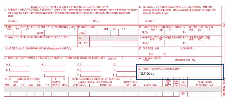 Box 23 - Prior Authorization number