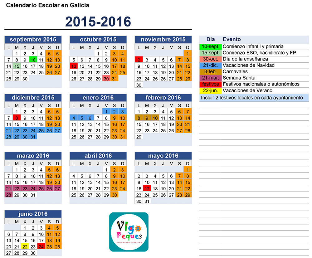 Calendario Escolar Galicia 2015 2016 Vigopeques