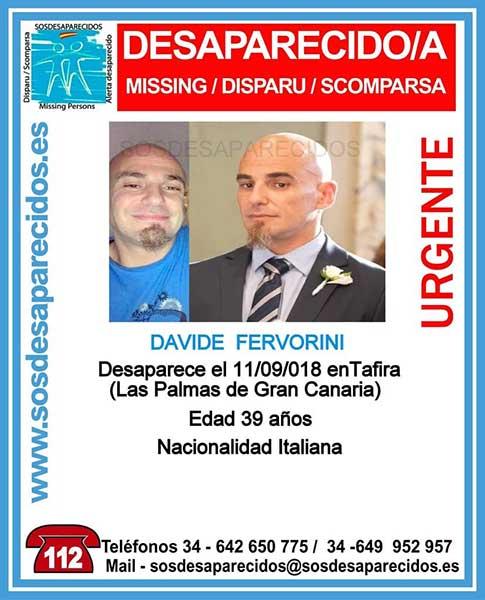 Davide Fervorini, hombre de nacionalidad italiana desaparecido  en Tafira, Las Palmas de Gran Canaria
