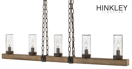 Sawyer Collection from Hinkley Lighting with wood finish