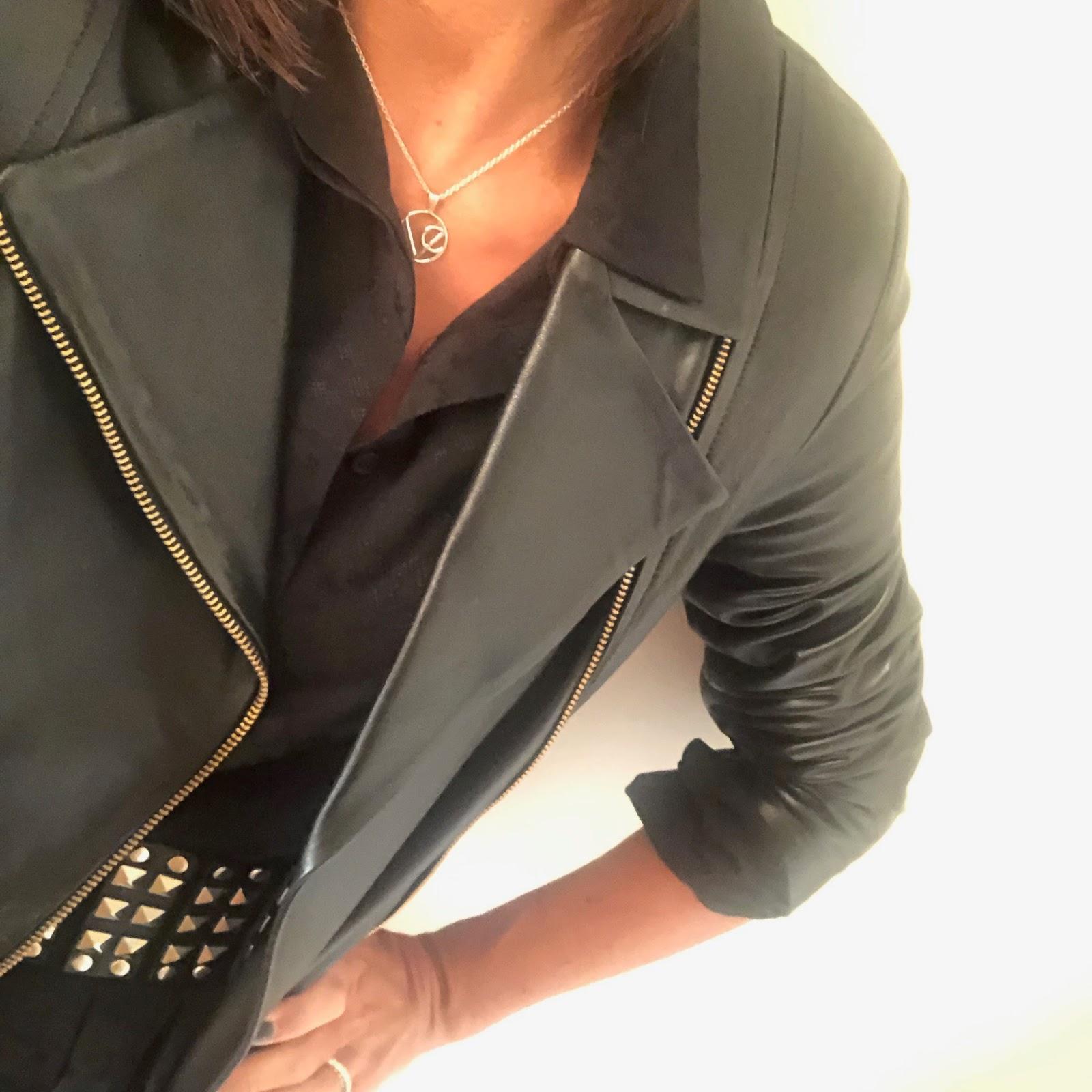 my midlife fashion, and other stories shirt maxi dress, baukjen everyday biker jacket, zara studded belt, golden goose superstar low top leather trainers