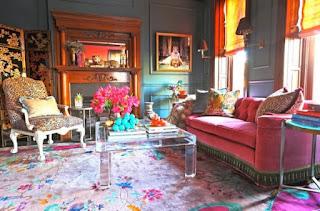 sala muebles color rosa