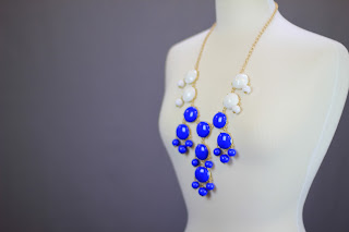 Blue and white bubble gem necklaces