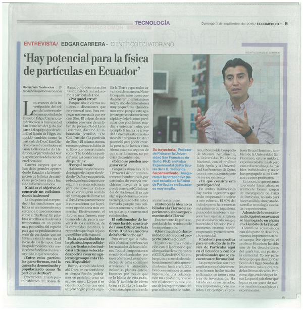 Hay potencial para la física de las partículas en Ecuador, entrevista diario El Comenrcio