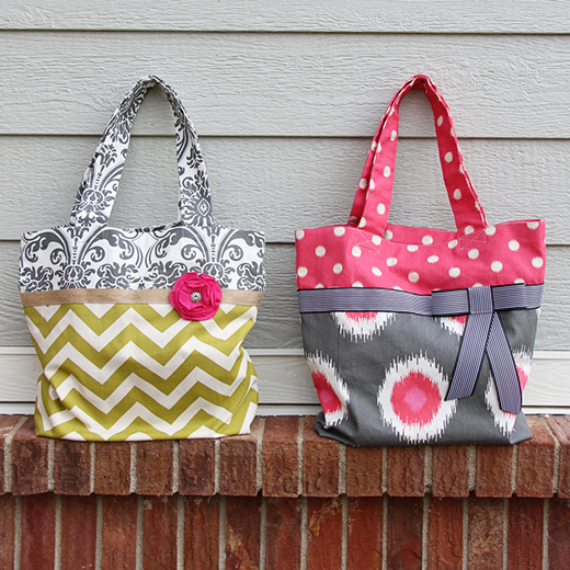 Two Tone Fabric Tote Bag Free Pattern