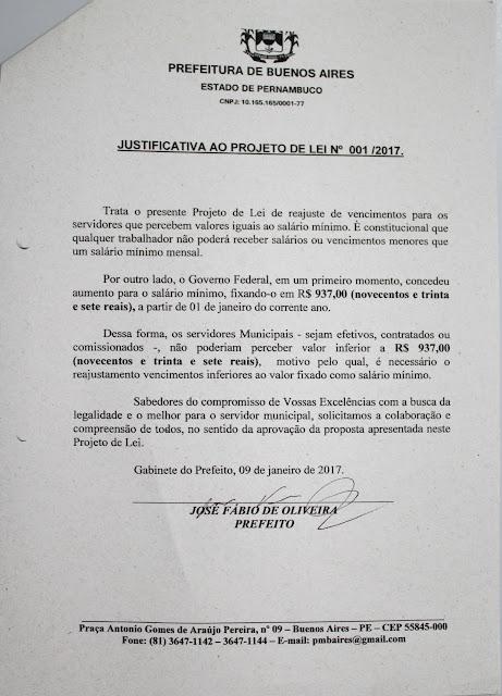 Justificativa do Projeto de Lei nº 01/2017 de Buenos Aires-PE