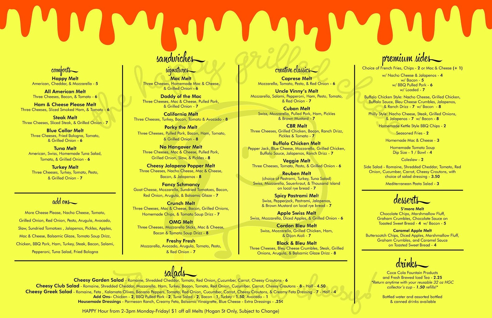 The Happy Grilled Cheese restaurant in downtown Jacksonville Florida menu