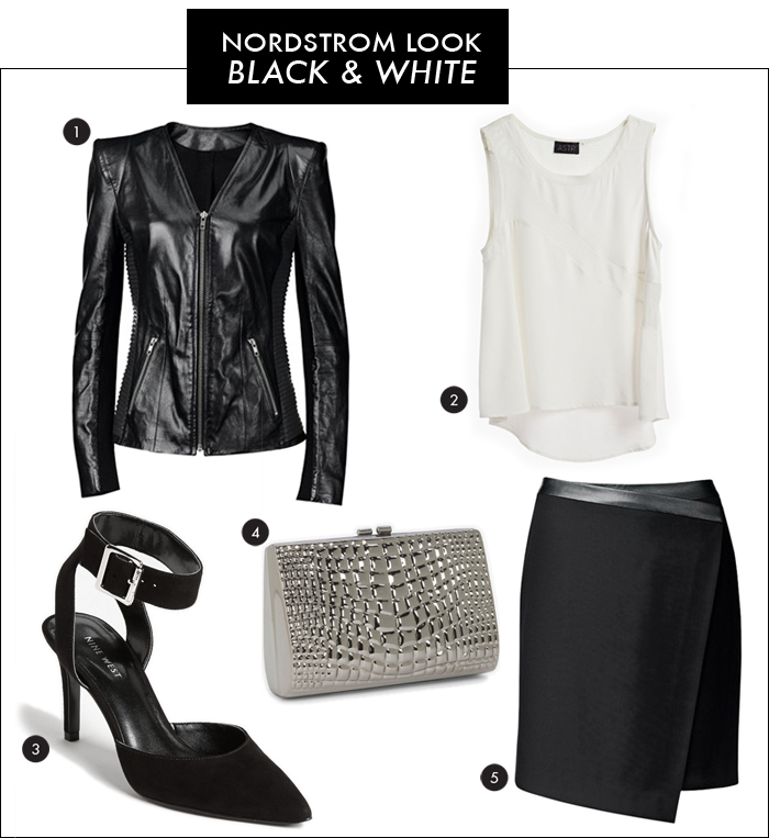 nordstrom, black and white trend, asymmetrical skirt, strong shoulder jacket, leather jacket, nine west