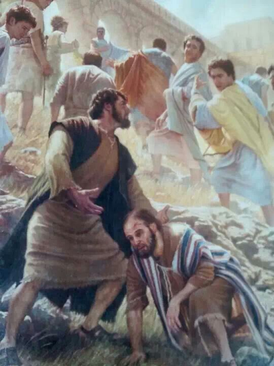 Paul survives stoning. (Acts 14:19-20)