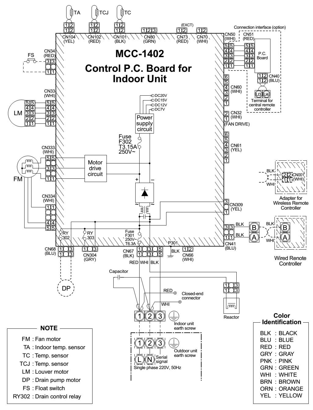 Split Unit Air Conditioner Wiring Diagram Thermostat Diagrams Toshiba Rav Sm562at Sm1402at